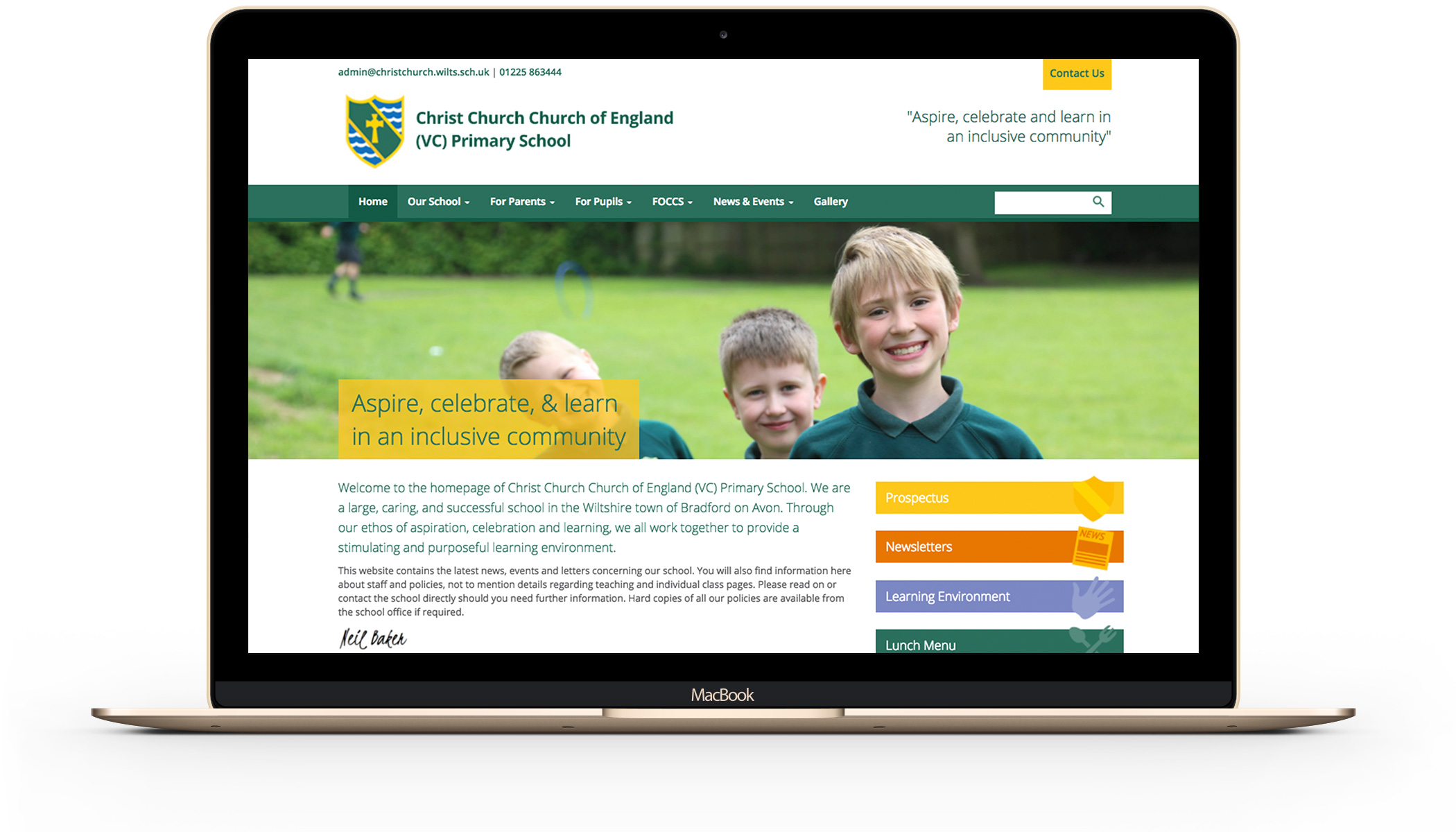 Christchurch Primary School website design