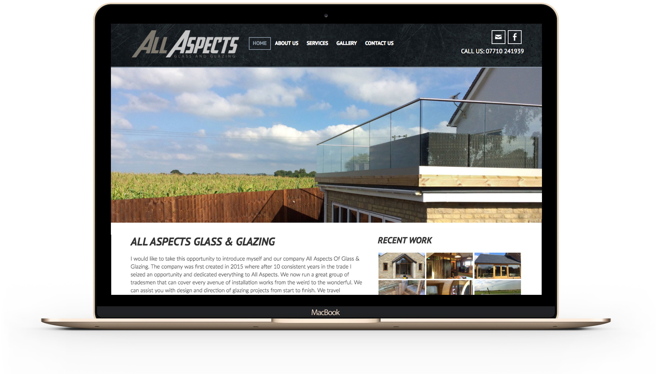 All Aspects Glass & Glazing website design