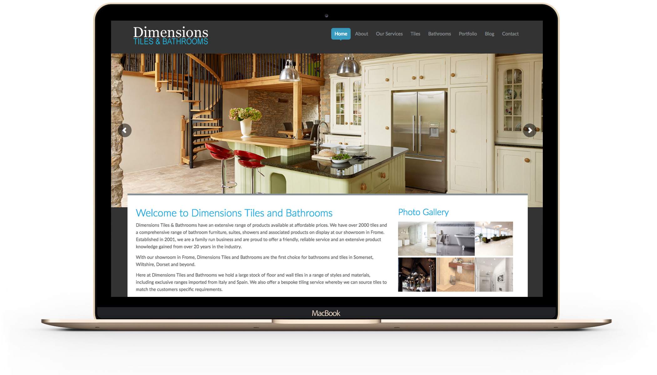 Dimensions Tiles wordpress website design