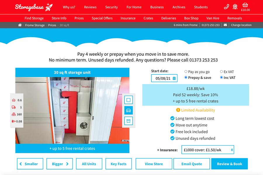 Storagebase eCommerce website