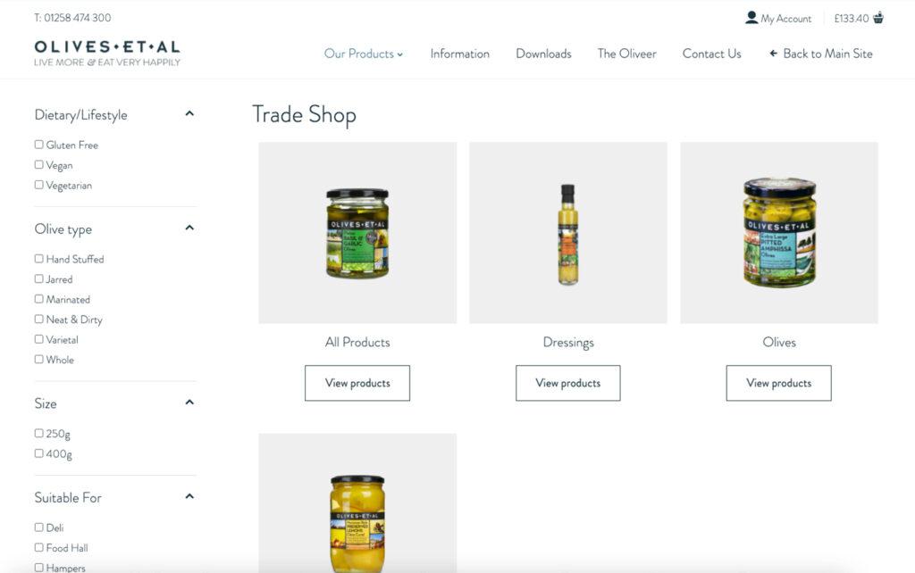 Olives Et Al eCommerce website