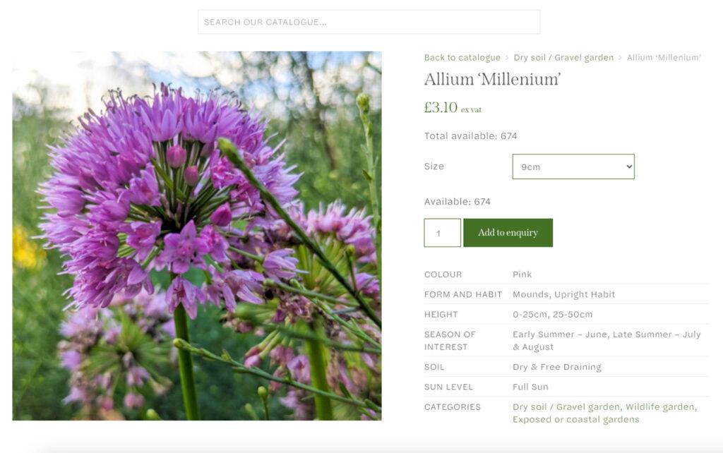 Arvensis Perennials - eCommerce website